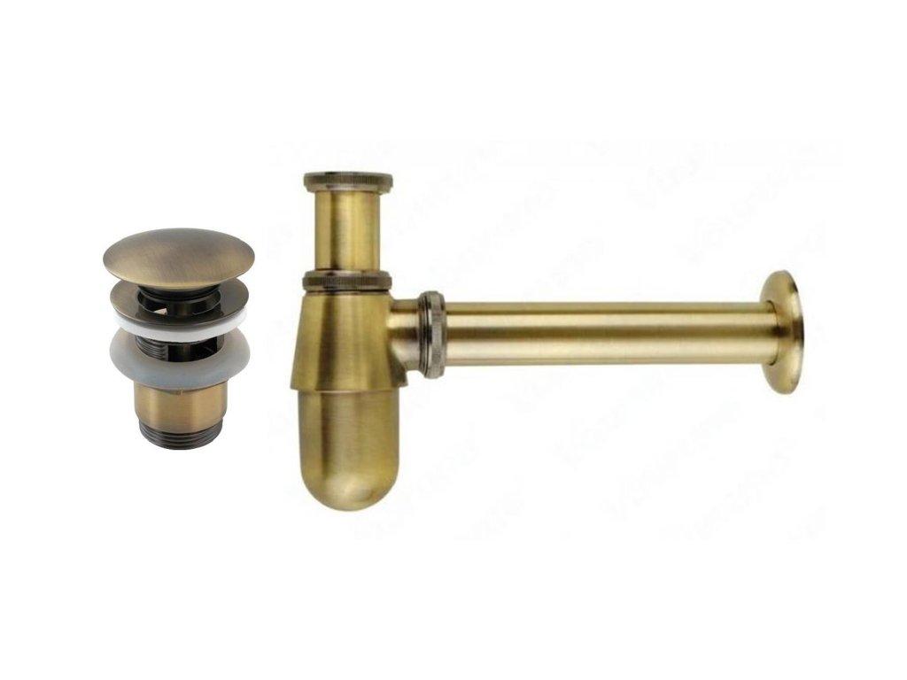 umyvadlovy sifon s vypusti retro bronz
