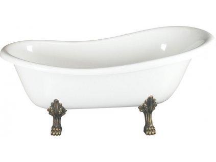 Volně stojící vana 160x73x82cm, nohy bronz, bílá