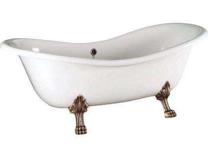 CHARLESTON Volně stojící vana 188x80x41cm, nohy bronz, bílá