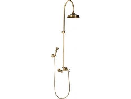 ANTEA sprchový sloup k napojení na baterii, hlavová a ruční sprcha bronz SET026