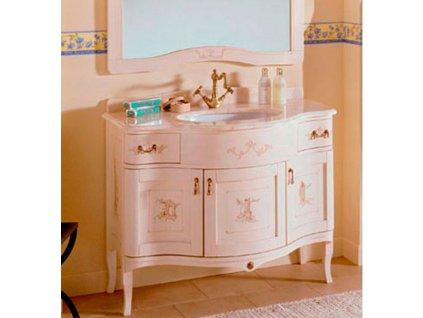Skříňka s umyvadlem, š. 110cm, mramor Bianco Carrara, avorio dek
