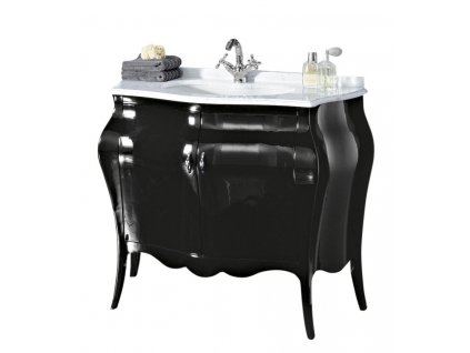 ISOTTA LAC 105-S skříňka s umyvadlem, š. 107cm, mramor Bianco Carrara, nero
