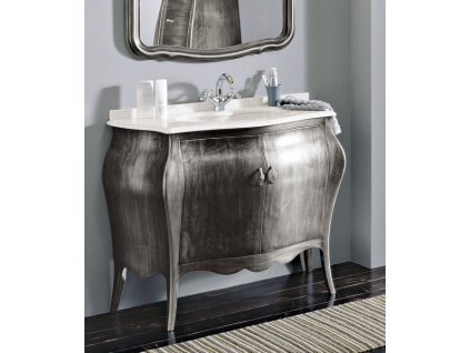 Skříňka s umyvadlem, š. 107cm, mramor Bianco Carrara, argento