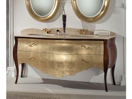 Skříňka s umyvadlem, š.175cm, mramor Silvia Oro, noce/oro