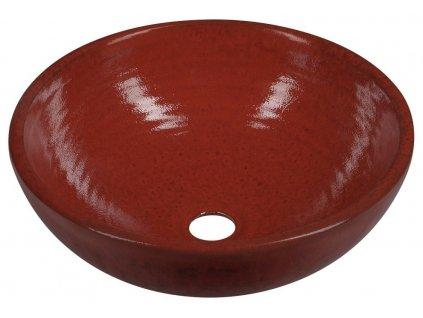 ATTILA keramické umyvadlo, průměr 42,5 cm, tomatová červeň dk003