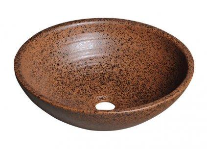 ATTILA keramické umyvadlo, průměr 42,5 cm, terakota hnědá DK004