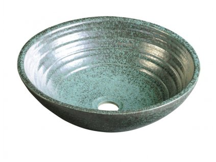 ATTILA keramické umyvadlo, průměr 42,5 cm, zelená meď  DK006