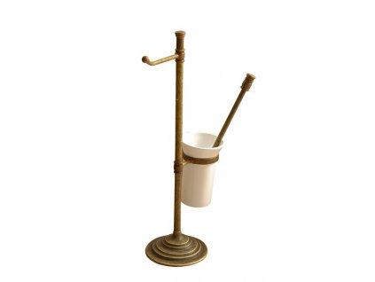 Stojan s držákem na toaletní papír a WC štětkou, bronz   (MC132)