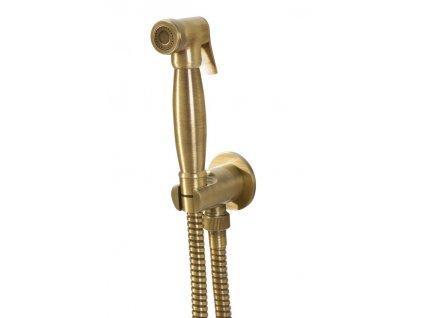 Bidetová sprcha retro, s hadicí a držákem sprchy s vyústěním, bronz 9106