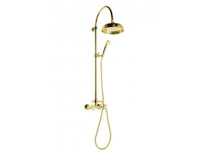 ANTEA sprchový sloup k napojení na baterii, hlavová a ruční sprcha, zlato SET035