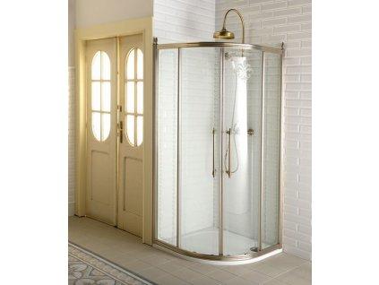 ANTIQUE čtvrtkruh. zástěna 1000x1000, posuv. dveře dvoukřídlé, ČIRÉ sklo, bronz GQ5210C