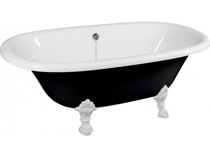 REGATA volně stojící vana 175x85x62cm, nohy bílé, černá/bílá 10261