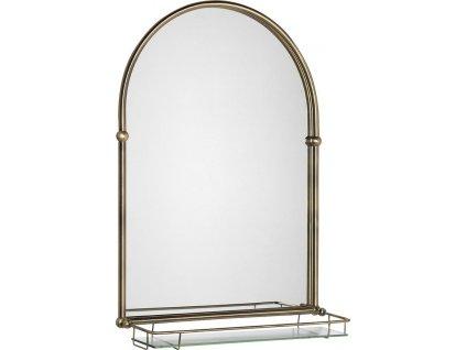 TIGA zrcadlo 48x67cm, skleněná polička, bronz HZ206