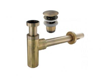 set umyvadlovy sifon vypust klik klak bronz
