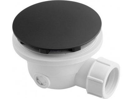 Vaničkový sifon, průměr otvoru 90 mm, DN40, krytka černá mat 1711B