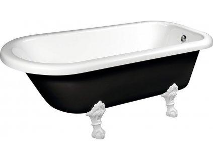 FOXTROT volně stojící vana 170x75x64cm, nohy bílé, černá/bílá 72962