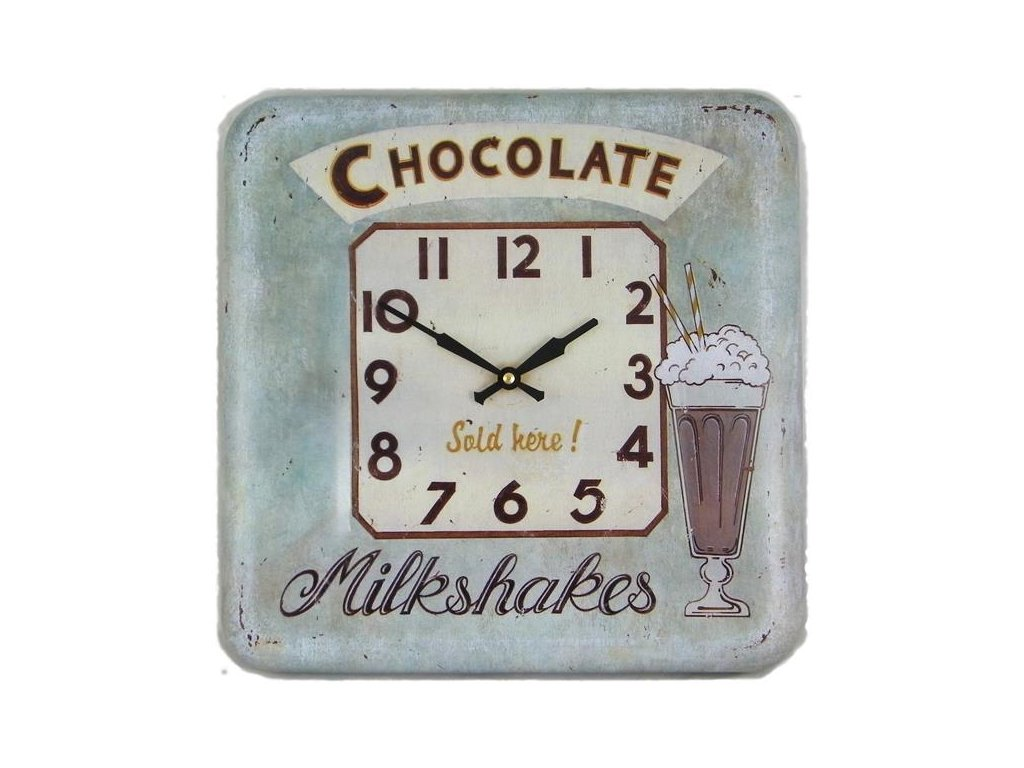 Retro hodiny na stěnu - Square Tin Wall Clock, Chocolate design, 31 x 31 cm.