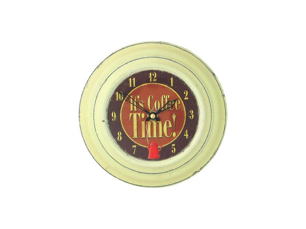Retro hodiny na stěnu - Cream Tin Wall Clock, Coffee Design, 18,5 cm