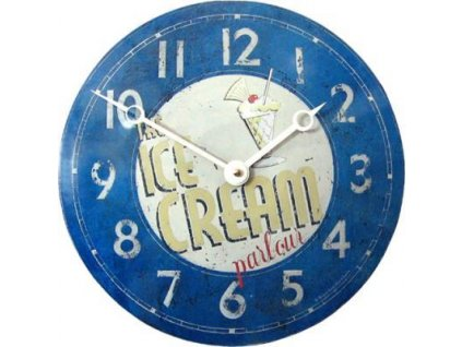 Retro hodiny na stěnu - Convex Tin Clock, Ice cream Parlour, 28 cm