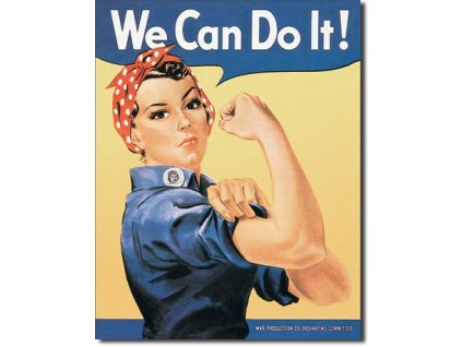 Plechová cedule Rosie the Riveter,  We Can Do It! 32 x 41 cm