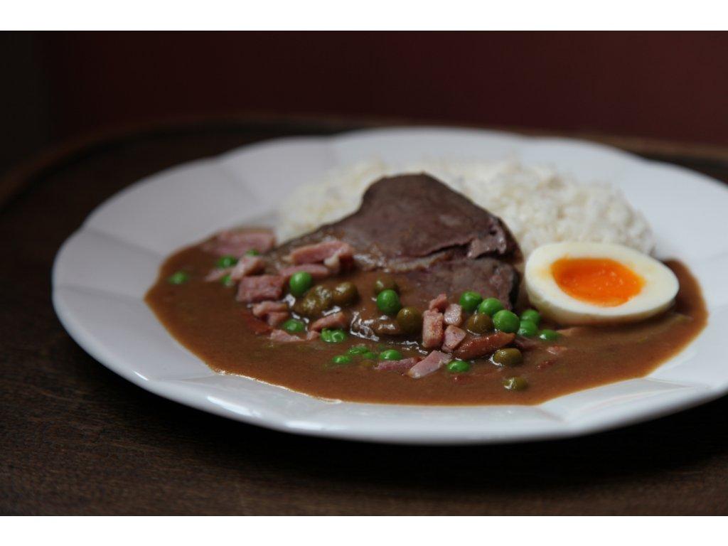 Pražská hovězí pečeně (šunka, hrášek, vejce), rýže