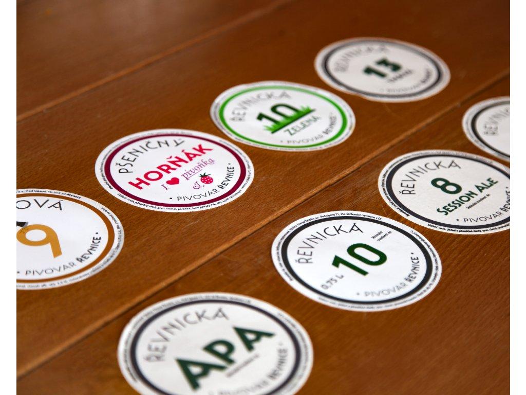 Pivní Etiketa PIVOVAR ŘEVNICE, různé druhy