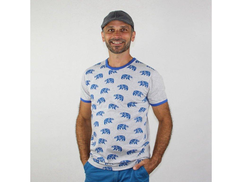 Pánské triko - ORIGAMI na šedé