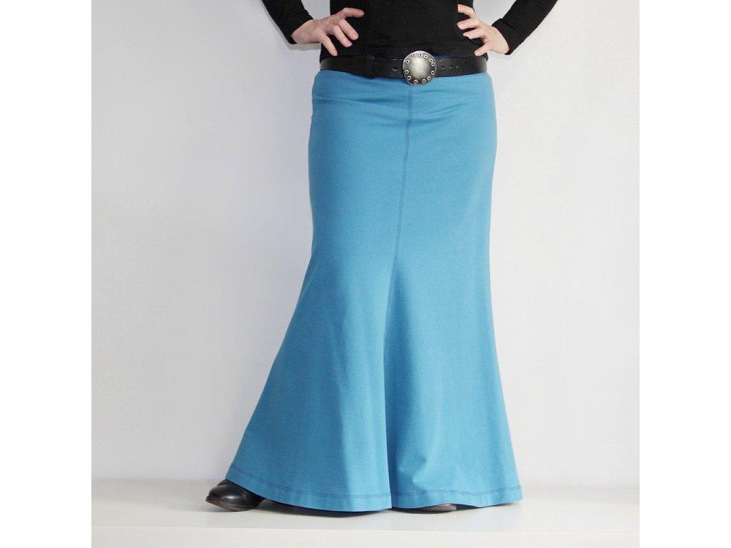 Maxi sukně PETROLEJOVĚ MODRÁ - teplá