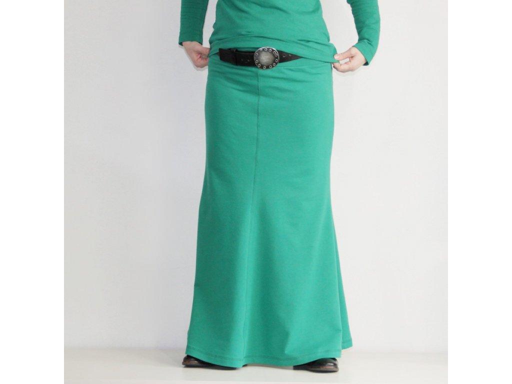 Maxi sukně ZELENÁ - teplá