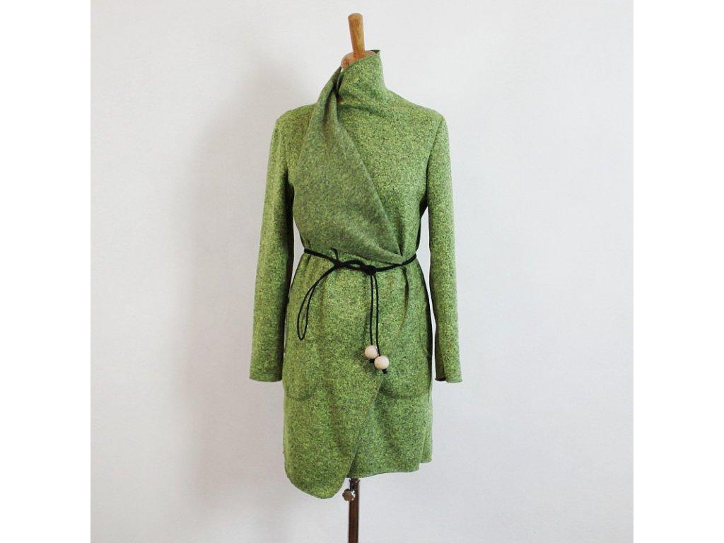 Kardigán dlouhý - mechově zelený