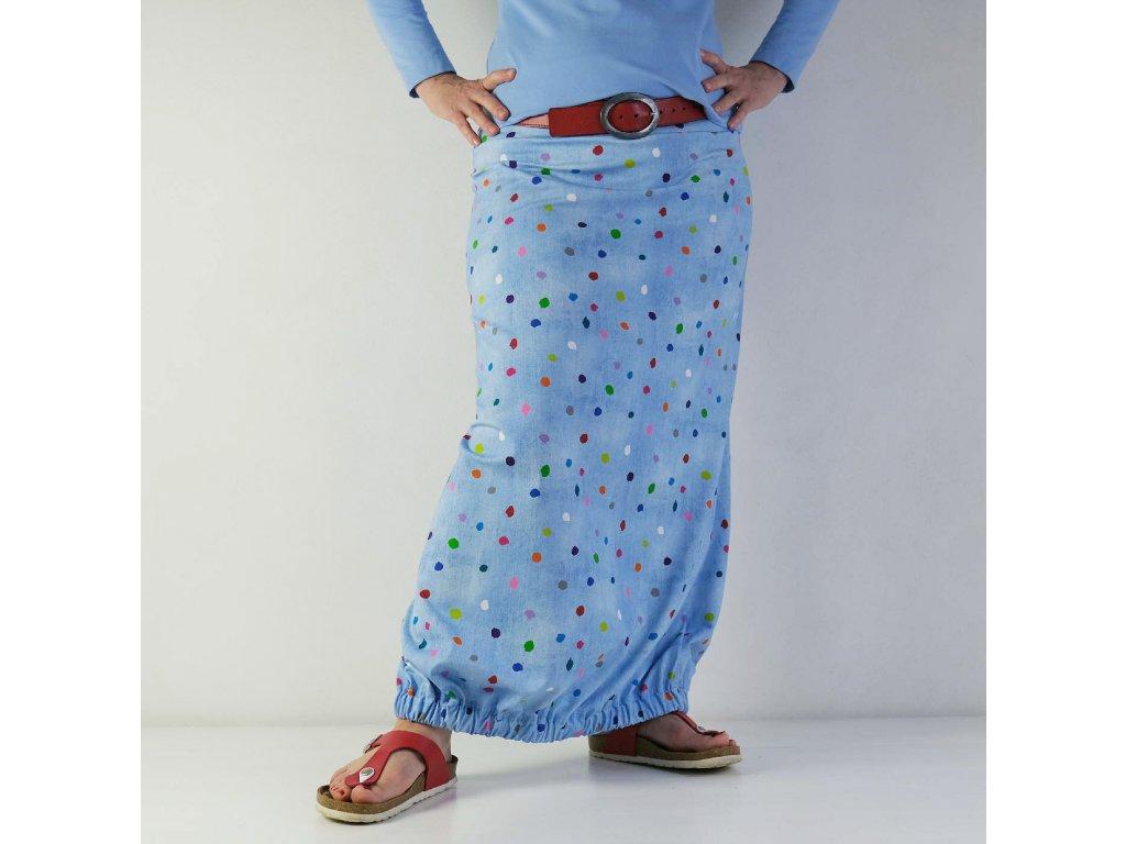 Dlouhá sukně do gumy - Barevné puntíky