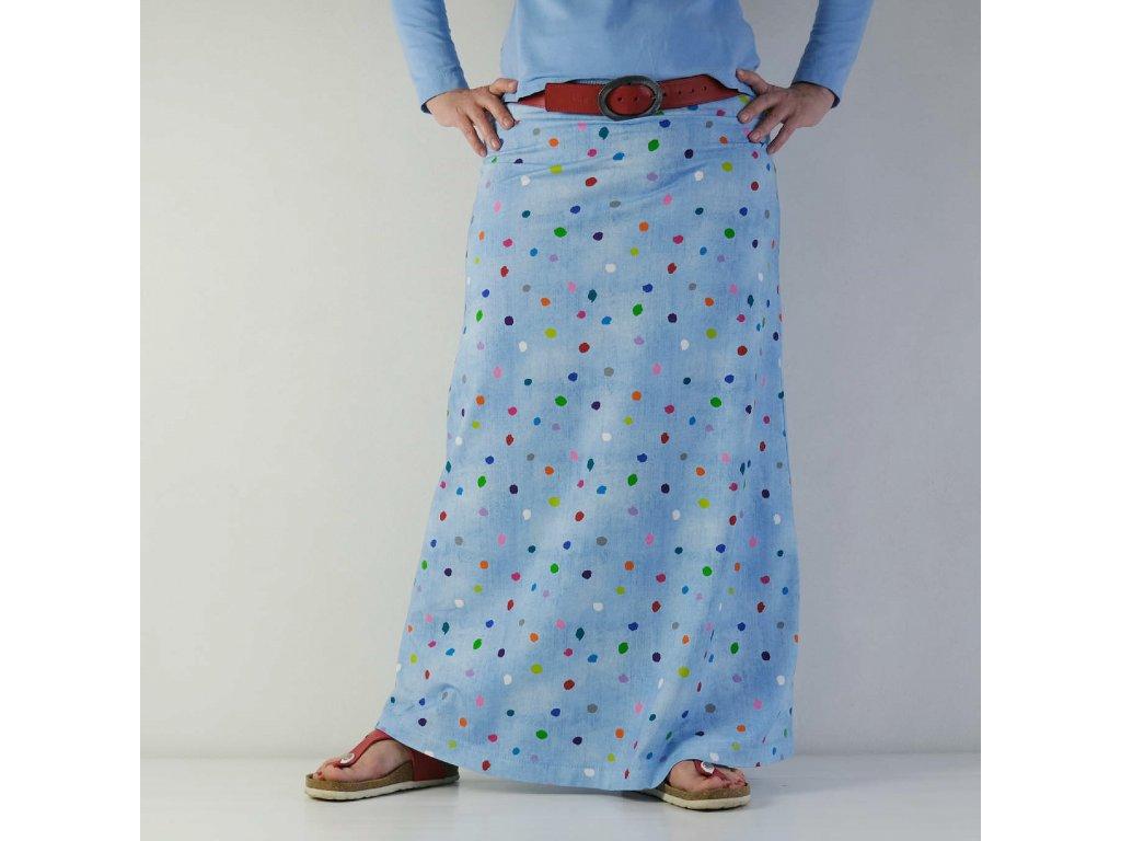 Maxi sukně - Barevné puntíky
