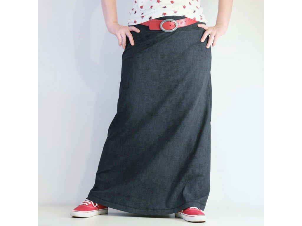 Maxi sukně - ČERNÝ DENIM