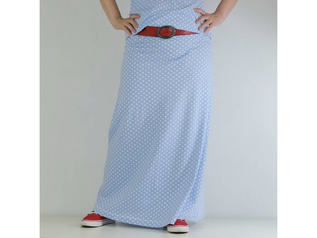 Maxi sukně - puntíky na modré