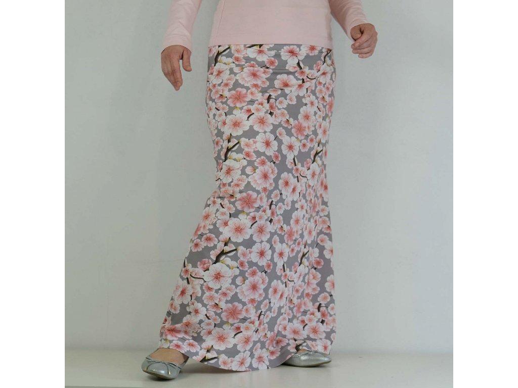 Maxi sukně - jabloňový květ