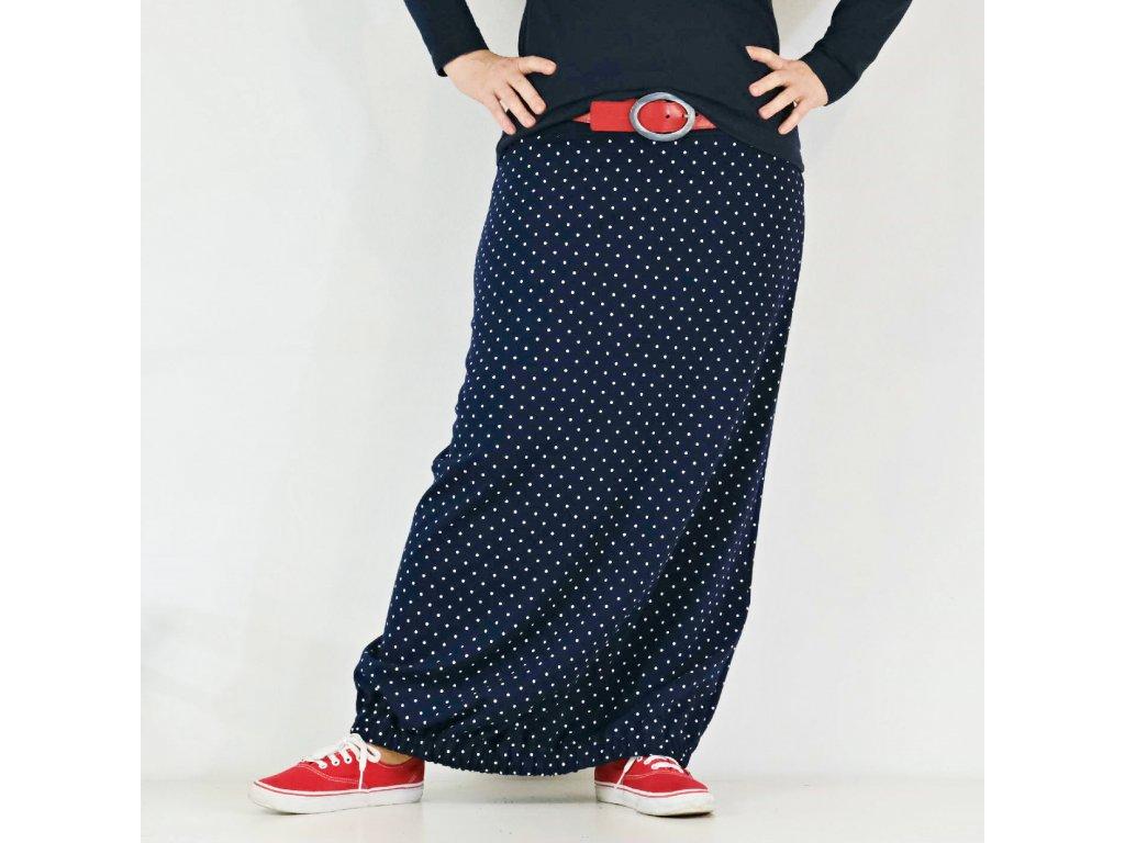 Sukně do gumy - Modrobílý puntík - teplá