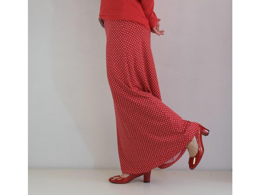 Maxi sukně - červené kaňky