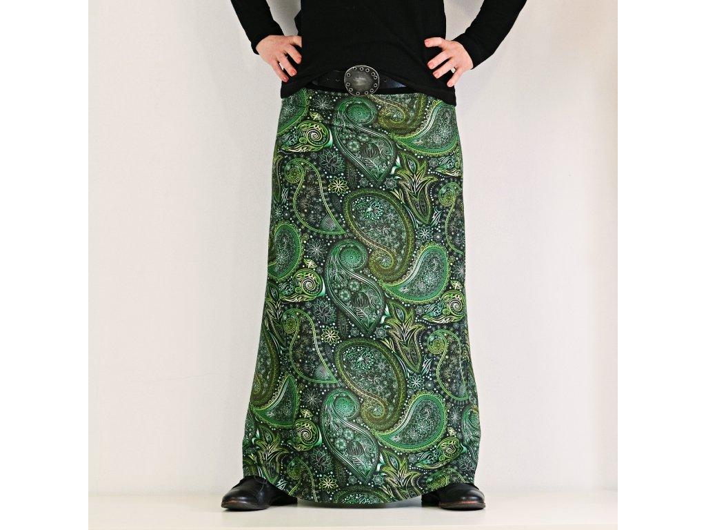Maxi sukně - Do zelena