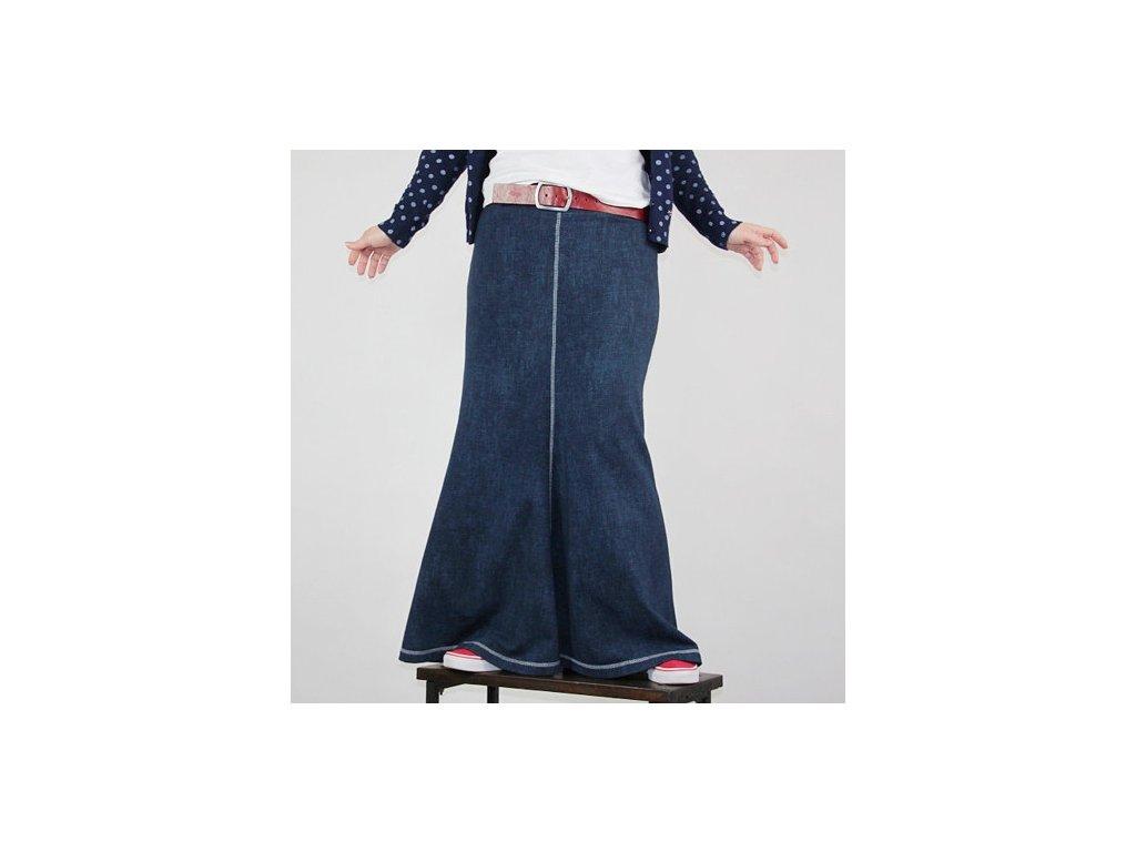 Maxi sukně modrá teplá