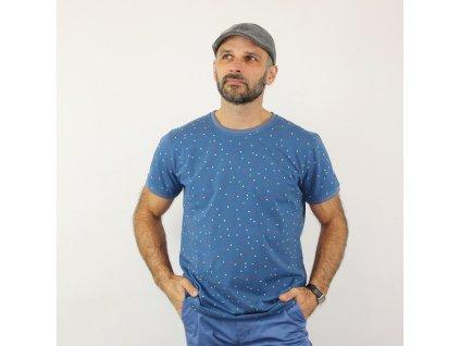 Pánské triko - puntík na modré