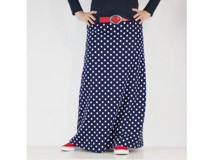 Maxi sukně - Modrobílý puntík - teplá
