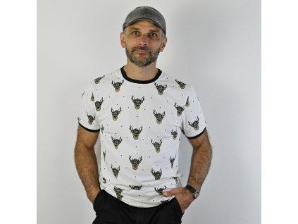 Pánské triko - JELEN na bílé