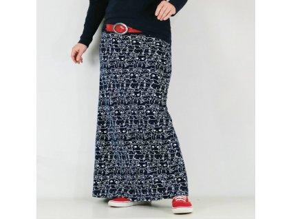 Maxi sukně - Modrobílé kočky - teplá