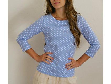 Tričko - nebesky modré s puntíkem