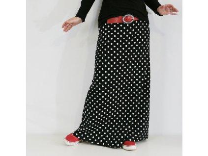 Maxi sukně - Černobílý puntík - teplá