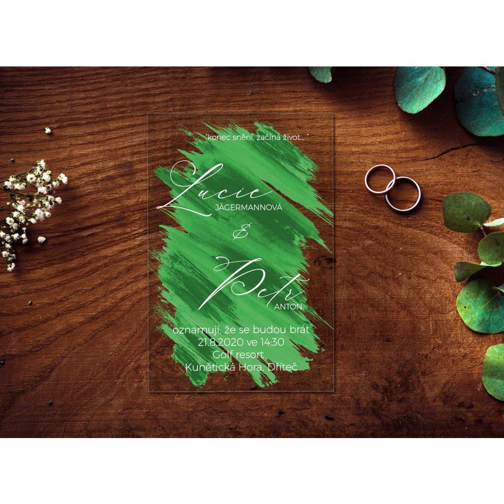 Svatební oznámení na plexiskle podbarvené akrylem