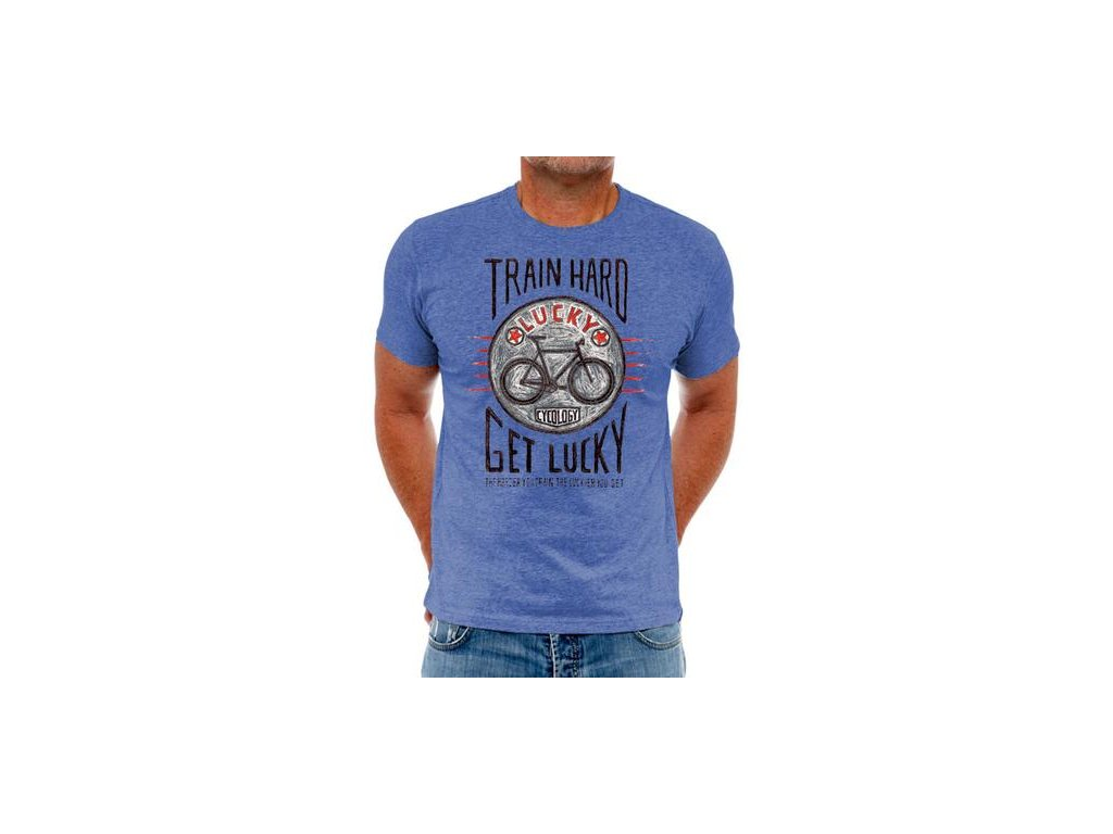 Train Hard get lucky denim Mens tee 360x