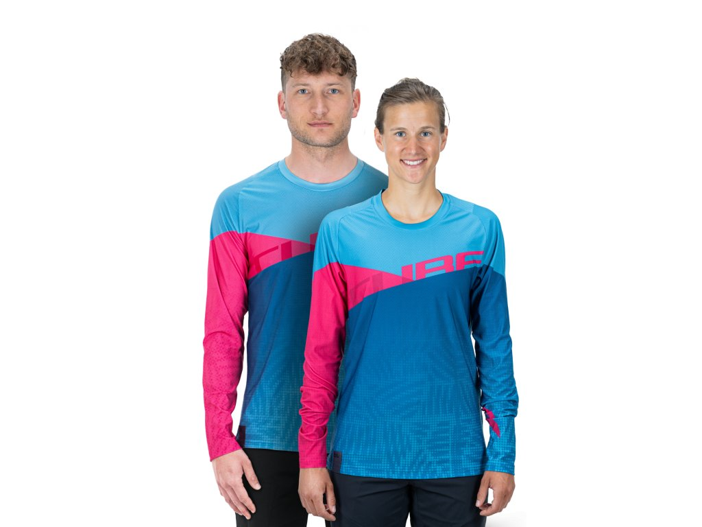 dres CUBE EDGE ROUND NECK JERSEY L/S blue/pink
