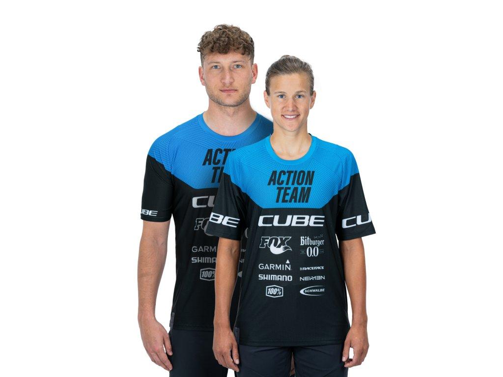 dres CUBE EDGE ROUND NECK JERSEY S/S black/blue