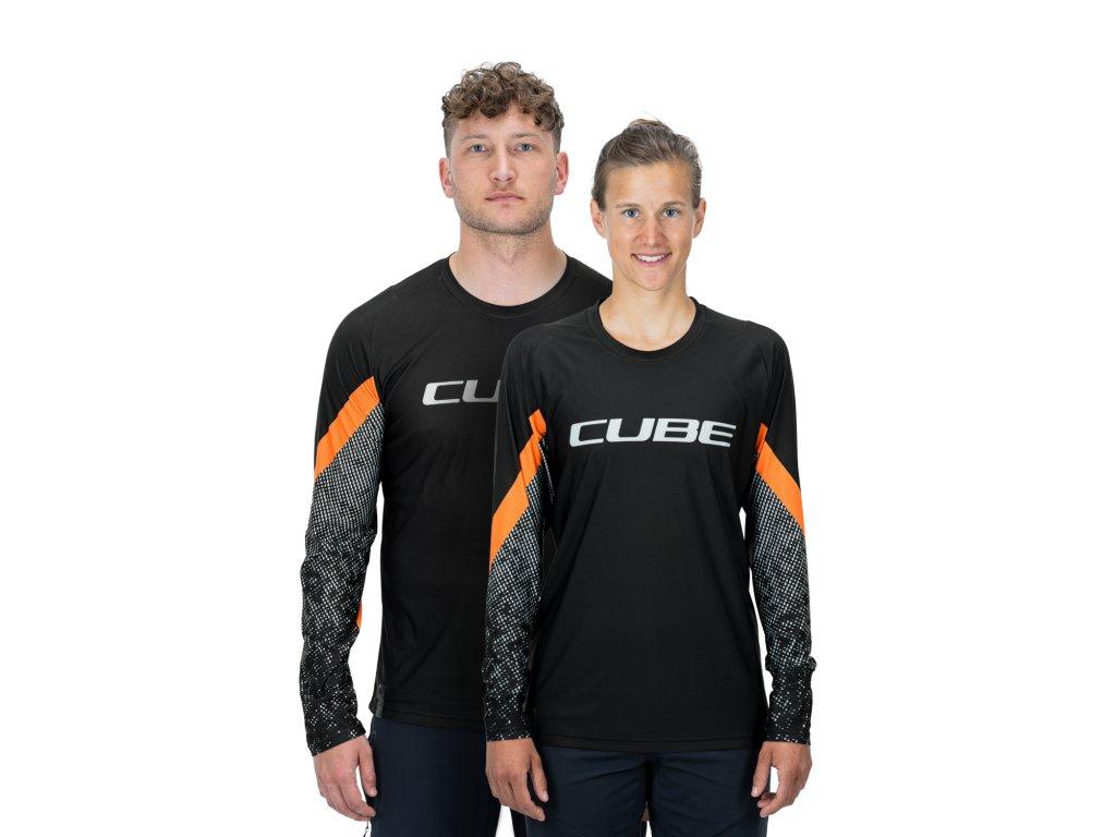 dres CUBE EDGE ROUND NECK JERSEY L/S black/orange